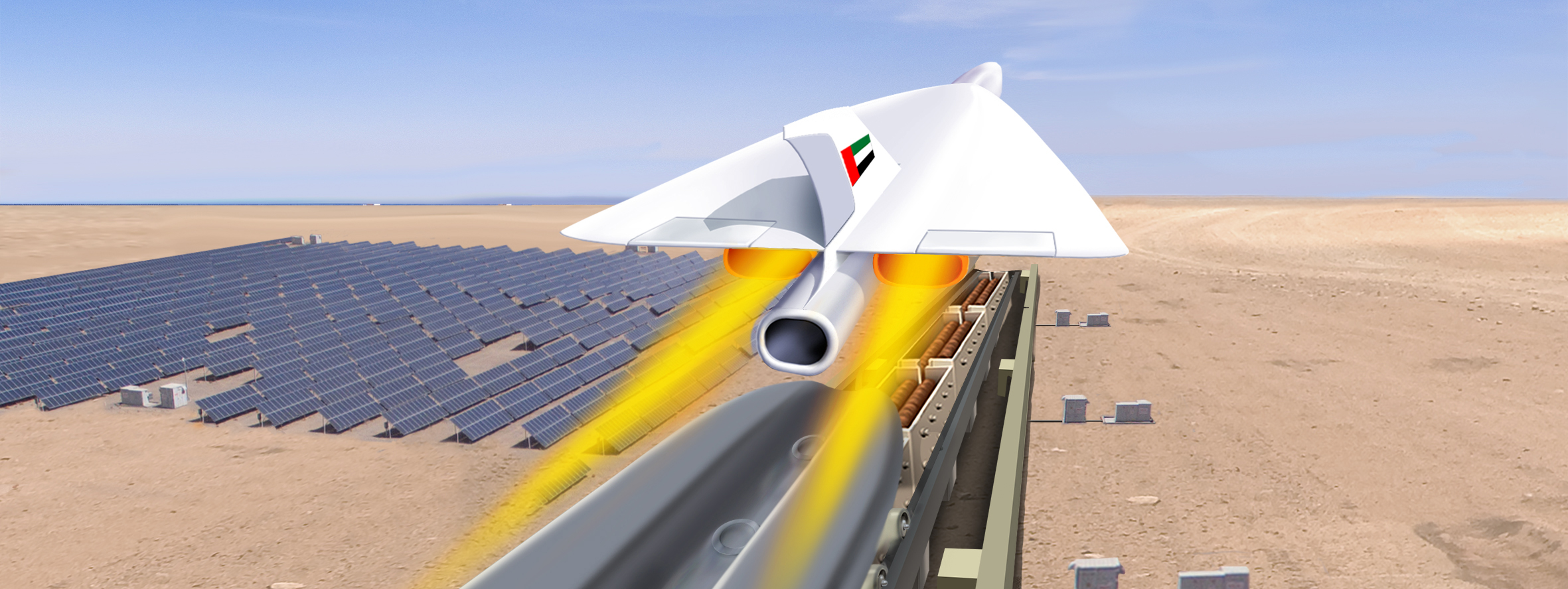 Artist's impression: Swala taking off from a linear motor track